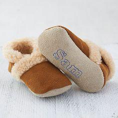 Personalised Merino Sheepskin Booties by Born Bespoke from NotonTheHighStreet.com #PortlandHospStocking
