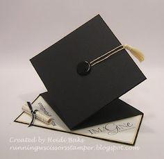 Graduation Cap Spring Card. Tutorial on SpiltcoastStampers. http://www.splitcoaststampers.com/resources/tutorials/spring_card/