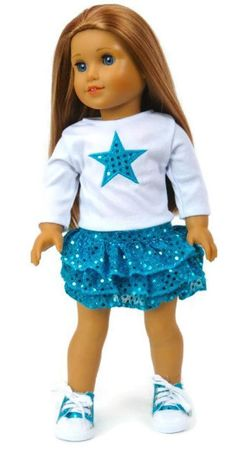 """White Top with Star & Teal Sequined Skirt fits 18"""" American Girl Doll Clothes #Unbranded #DollClothes"""
