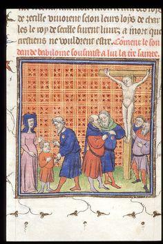 "*CONTRASSEGNO PER GLI EBREI?* Jews of Magdeburg - ""Chroniques de France ou de St Denis"" - last quarter of XIV cent. [Royal 20 C VII f. 32]"