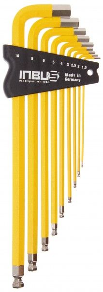 INBUS® 70303 - Gelb 9tlg. 1,5-10mm Made in Germany      Satz 9tlg. 1.5-10mm     hochwertig in gelb pulverbeschichtet     optisch sehr ansprechend und funktional     10 Jahre Garantie     Marke: INBUS® - Das Original seit 1934.  http://www.inbus.de/home/inbus-farbcodiert/46/inbus-70303-inbusschluessel-satz?c=8