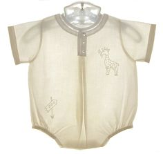 NEW Feltman Brothers Palest Yellow Baby Romper with Giraffe Embroidery $50.00