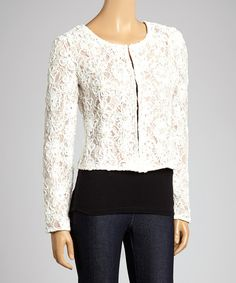 Another great find on #zulily! Ryu Ivory Embroidered Blazer by Ryu #zulilyfinds