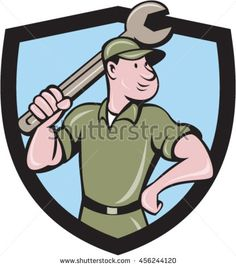 Illustration of a mechanic wielding holding spanner wrench looking to the side with one hand on hips viewed from front set inside shield crest on isolated background done in cartoon style. #mechanic #cartoon #illustration