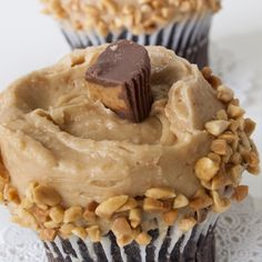 A Peanut butter filled chocolate cupcake recipe, These cupcakes are so fabulously rich and delicious..  Chocolate Peanut Butter Cup Cupcakes Recipe from Grandmothers Kitchen.