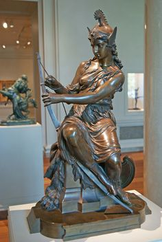 Amazon Preparing for Battle (Queen Antiope or Hippolyta?) or Armed Venus, by Pierre-Eugene-Emile Hebert, 1860, bronze. National Gallery of Art, Washington DC. Mooncalled Photography, via Flickr | Greek mythology | 19th century Neoclassical art