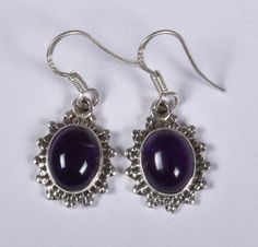 925 Solid Sterling Silver Earring Natural Amethyst Gemstone 1.4 Inches JSEA-48 #JaipurSilver