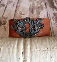 Patina Key Hole Leather Cuff
