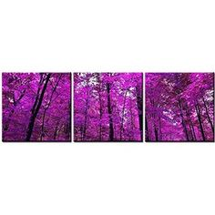 Canvas Print Wall Art Painting For Home Decor Purple Japanese Maple Leaves Forest Scenery Landscape 3 Pieces Panel Paintings Modern Giclee Stretched And Framed Artwork The Picture For Living Room Decoration Tree Pictures Photo Prints On Canvas