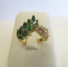 Vintage Emerald Ring Diamond Cluster Ring by FergusonsFineJewelry, $625.00