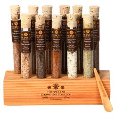 The Spice Lab Sea Gourmet Salt Sampler Collection 1 - 11 Pyrex Tubes - Makes Excellent Grilling Gifts - Premium Gourmet Salt Set Gifts for Men - Seasoning Gift Set Christmas Presents For Her, Perfect Christmas Gifts, Christmas Ideas, Christmas 2015, Christmas Crafts, Christmas Ornaments, Spices Packaging, Gourmet Salt, Food Gift Baskets