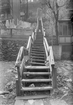 Look closely and you will see a small child crawling along these East Street steps in 1934. This view looks east from 1556 Howard Street on the North Side as the rickety and crooked steps climb from Howard to East Streets. Similar steps could be found throughout the city due to the hilly terrain. Pittsburgh built the 279 North Interstate stretch over these two roads.
