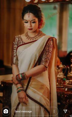 Bridal Sarees South Indian, Indian Bridal Outfits, Indian Bridal Fashion, Indian Designer Outfits, Indian Fashion Dresses, Wedding Outfits, Brocade Blouse Designs, Kerala Saree Blouse Designs, Wedding Saree Blouse Designs