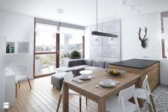 Szarość ocieplona drewnem - Salon - zdjęcie od HOME & STYLE