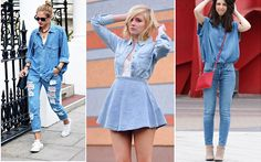 10 tendências dos anos 90 que voltaram com tudo!  5. Tudo jeans Camisa com calça ou com saia. Jaqueta com short. As misturas são as mais variadas. Combine com cores neutras para destacar o jeans ou aposte em acessórios de tons fortes, que modernizam o look.