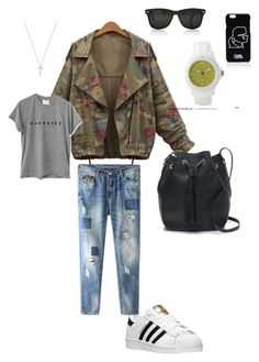 """go to green"" by monic-0083 on Polyvore featuring moda, J.Crew, adidas, Gucci, Karl Lagerfeld, white, grey, camuflage i boyfrend"