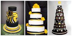 yellow and black theme wedding cakes