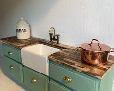 Freestanding Kitchen Sink Cupboard | Etsy Kitchen Sink Units, Belfast Sink, Freestanding Kitchen, Doll Furniture, Cupboard, Dollhouse Miniatures, Etsy, Design, Create