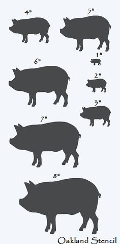 """Primitive**PIG STENCIL with 8 total** Sizes 1""""-8"""" Farm Country Veterinary Kitchen for Painting Signs, Airbrush, Crafts, Wall Decor"""