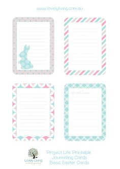 Easter Project Life Printable Journaling Cards