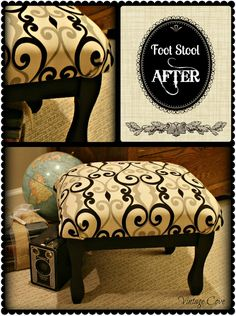 I love the colors.  Very nicely done.  Foot Stool Makeover ~ by Vintage Cove.