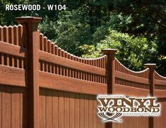 V3707-6 Grand Illusions Vinyl WoodBond Rosewood (W104) T Vinyl Privacy with Scalloped Classic Victorian Picket Topper and New England Post Caps. Looks like real wood, but doesn't need any of the upkeep.