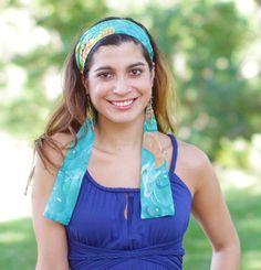 Bohemian Headband Green Feather Print Headband w/ by ElizabethKoh