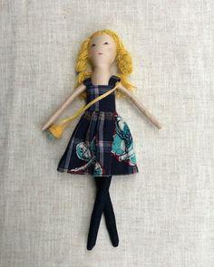 """Cloth doll with baby,Dress up doll, Handmade cloth doll, fashion doll,, doll set, play set, soft doll, 13"""" doll, rag doll"""