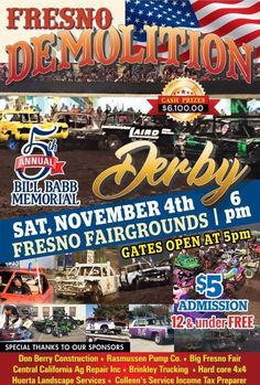 Join us on Saturday, 11/4/17 for the Demolition Derby at the Brian I. Tatarian Grandstand at 6 p.m.! Gates open at 4:30 p.m., come watch these hard-hitting, metal-crushing drivers compete for the Grand Prize of $6,100! General Admission is just $5; children 12 and under are free. Tickets will be sold at the gate the day of the event, so get them before they're gone!