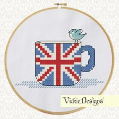 Tea Cup Birds Cute Cross Stitch Pattern PDF British UK Flag