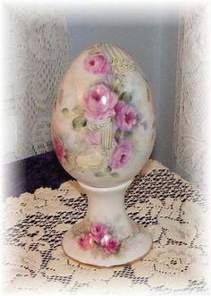 Large porcelain egg on porcelain egg stand. Hand painted & original design by Priscilla