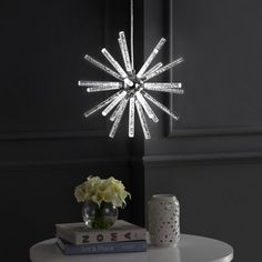 Soyuz Adjustable Integrated Led Starburst Metal/Acrylic Pendant Chrome (Grey) (Includes Energy Efficient Light Bulb) - Jonathan Y Diy Pendant Light, Pendant Lights, Rustic Kitchen Design, Kitchen Designs, Kitchen Ideas, Dim Lighting, Lighting Ideas, Modern Lighting, Rustic Home Interiors