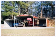 metal barn - equipment storage - low cost equipment storage - call for a quote Carolina Carports, Steel Barns, Steel Fabrication, Metal Barn, Iron Steel, Building Systems, Construction Design, Steel Buildings, Cover Design