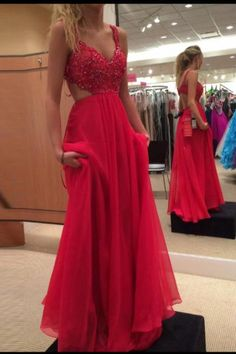 Red Sweetheart Straps Beaded Bodice Chiffon Prom Dress With Cut Out Back UK2708