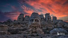 The ruins on Mount Nemrut depict a gaggle of gods from both Greek and Persian traditions, plus a few deities that King Antiochus I made... Bing Backgrounds, Canada Images, Stone Statues, Daily Pictures, Tower Bridge, World Heritage Sites, Deities, Monument Valley, Around The Worlds
