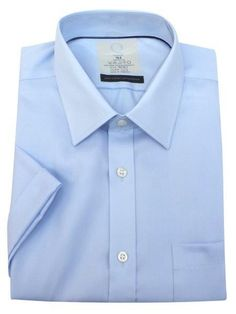 Men's Sky Blue Performance Non-Iron Pure Cotton Short Sleeve Fine Twill Shirt  #fashionista #instalikes #Oasislync #onlinestore #canadaonline #fashionstyle #canada #shopping #clothes #shoppingday