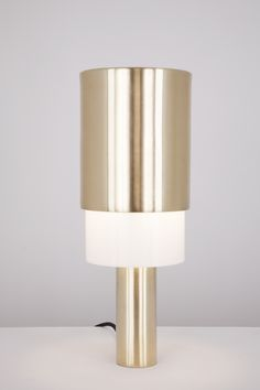 Totem desk lamp in satin brass by Atelier de Troupe.