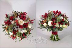 Красно-белый свадебный букет с пионами и декоративным перцем - Олеся Гавриш - свадебная флористика и декор