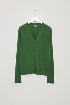 COS image 6 of Silk-cotton v-neck cardigan in Bottle Green
