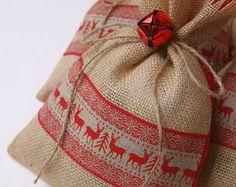 Regalo bolsas de arpillera árbol de Navidad blanco por FourRDesigns