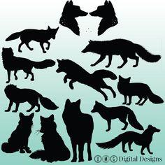 12 Fox Silhouette Digital Clipart Images, Clipart Design Elements, Instant Download, Black Silhouette Clip art
