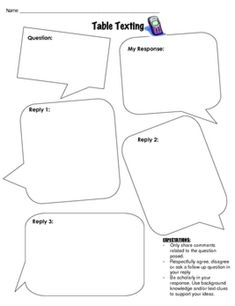 Table Texting: great way to work on higher level questioning, generating questions and answers based on text, and more