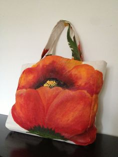 Hand Painted Poppy Tote by LiraLamorell on Etsy, { hand painted & handmade}