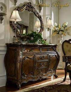Gorgeous Marble Top Sideboard With Ornate Looking Glass //This has to be in my bedroom: