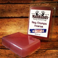 Who knew it was a MANLY scent. ManHands? No thanks. And KNOW, thanks! Nag Champa Incense Scented Soap 3 oz. Bar by ManHandsSoap on Etsy, $6.95