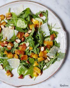 Roasted Peach and Arugula Salad