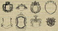 Family Crest, Royal Monogram, Coat of Arms, Royalty Clipart, Images, Overlays, Digital Design Elements or Illustrations