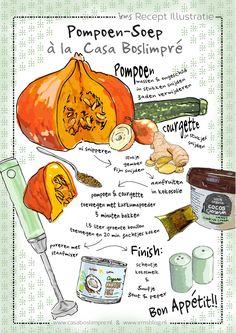 pompoensoep-casa-boslimpre-irmsblog Apple Recipes, Soup Recipes, Vegetarian Recipes, Cute Food, Good Food, Yummy Food, Food Journal, Food Drawing, Baked Pumpkin