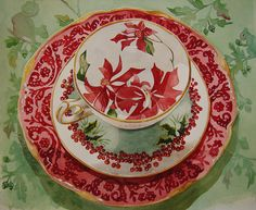 """Teacup Greeting card with Poinsettias painted inside the cup, cardinals wishing """"A Happy Christmas."""" Available at kimberlyshawgraph..."""