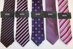NWT HUGO BOSS Blue Silk Neck Tie Men/'s $95 Made in Italy!